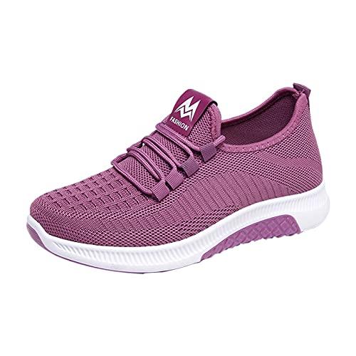 URIBAKY - Zapatillas de running para mujer, transpirables, ligeras y cómodas, de malla de moda, zapatillas de running, running, fitness, transpirables, zapatillas de deporte, malva, 40 EU