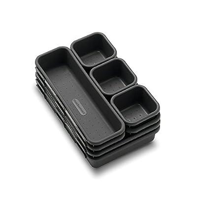 madesmart Value 8-Piece Interlocking Bin Pack - Granite   VALUE COLLECTION   Customizable Multi-Purpose Storage   Durable   Easy to Clean   BPA-Free