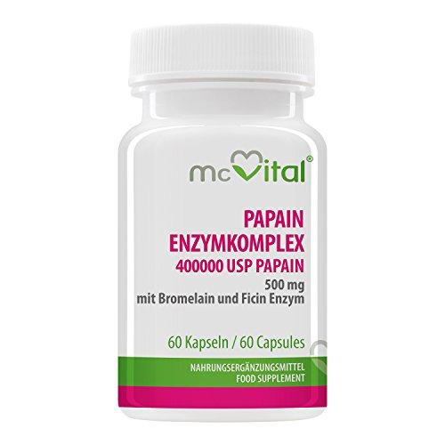 McVital Papain Enzymkomplex 400.000 USP / 500 mg • 60 Kapseln • Mit Bromelain und Ficin • Made in Germany