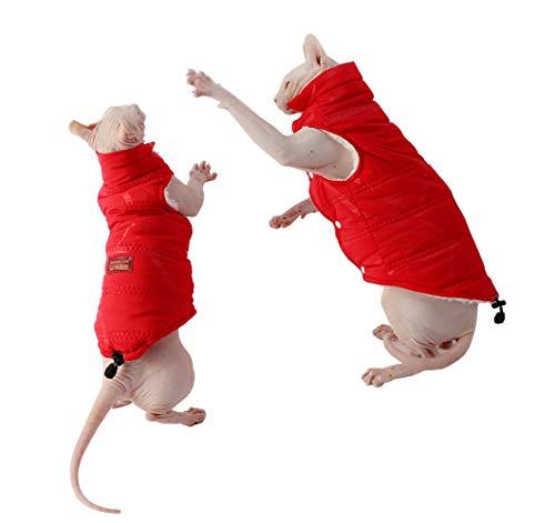 Khemn Designer Winddichte Katzen-Jacke mit dickem Samt, für haarlose Katzen, Rot