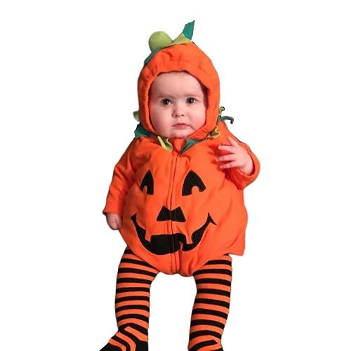 TMOYJPX Disfraz Halloween Bebe Niña Niño Calabaza Cremallera Monos / Sudadera con Capucha, Disfraces Halloween Niñas Recien Nacido (A~Mono con Capucha, 0-6 meses)