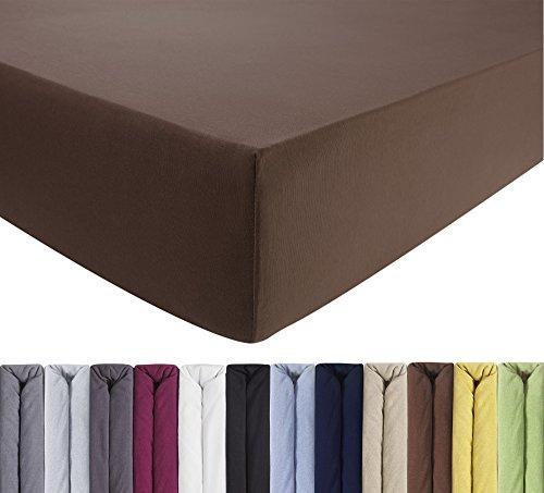 ENTSPANNO Jersey-Luxus-Spannbettlaken 140 x 200 | 160 x 220 cm für Wasser- und Boxspringbett in Dunkel-Braun aus gekämmter Baumwolle. Spannbetttuch mit Einlaufschutz bis 35 cm hohe Matratzen