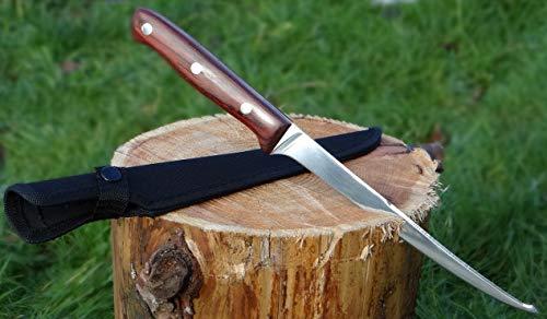 Maximtac Filetiermesser/Fischmesser Angelmesser 190mm Klinge + Nylonholster, Holzgriff, Full Tang Klinge aus Edelstahl