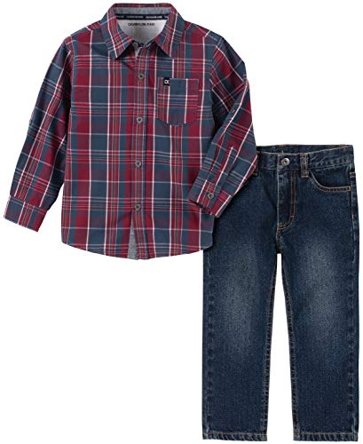 Calvin Klein Boys' Big 2 Pieces Shirt Pants Set, Bluered Plaid, 10