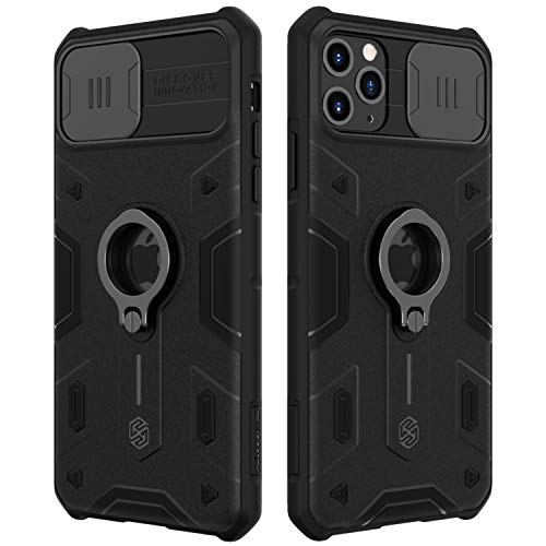 Nillkin for iPhone 11 Case Military Grade, Drop Tested Protective Case with Kickstand Ring Stand and Slide Camera Cover, CamShield Armor Case for Apple iPhone 11 6.1 Inch 2019,Black