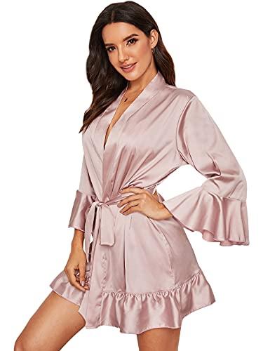 DIDK Damen Morgenmantel Bademantel Satin Sexy Kimono Kurz Robe mit Gürtel Nachthemd für Braut Nachtwäsche mit Rüschenbesatz und Gürtel Rosa S