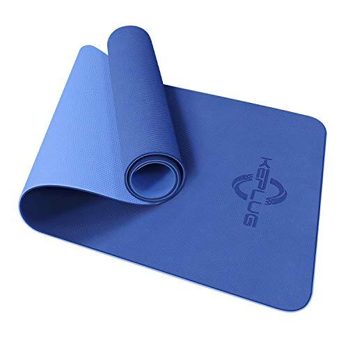 KEPLUG Yogamatte rutschfest Sportmatte Dicke TPE umweltfreundlich geruchlos, Fintnessmatte für Yoga, Fitness, Gymnastik, Training, Technogym, Gymnastik & 183cm x 61cm x 0.6 cm (Dunkelblau/Hellblau)