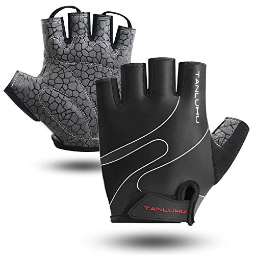 Tanluhu Cycling Gloves Mountain Bike Gloves Half Finger Road Racing Riding Gloves Breathable Shock-Absorbing Biking Gloves for Men and Women