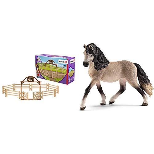 Schleich 42434 - Pferdekoppel mit Eingangstor &  13793 - Spielzeugfigur - Andalusier Stute