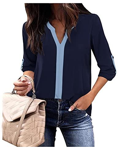 Blusa de gasa con cuello en V para mujer. azul marino L