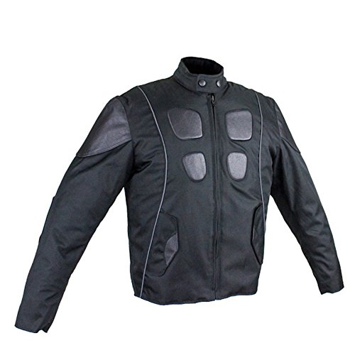 Ultimate Leather Apparel Mens Leather & Textile Motorcycle Jacket With Reflective Stripes S Black
