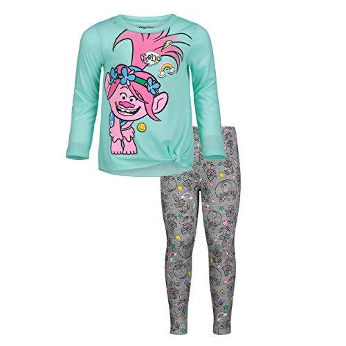 DreamWorks Trolls Poppy Toddler Girls Tunic Long Sleeve T-Shirt Legging Set Mint 2T