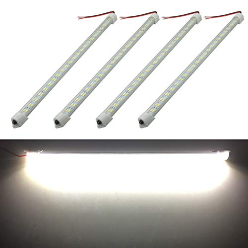 Ampper 12V 48 LEDs Interior Light Bar, 14 9.6W Strip Light for Car Van RV Boat Trailers Lorries LWB and Home Indoor Use (With On/Off Switch, White, 4 Pcs)