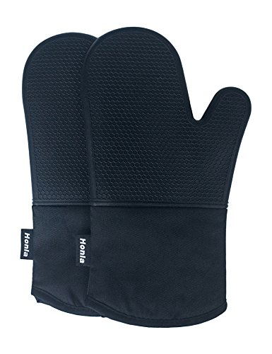 Honla Silicone Oven Mitts,Heat Resistant to 500 F,1 Pair of Non Slip Kitchen Oven Gloves for Cooking,Baking,Grilling,Barbecue Potholders,Black