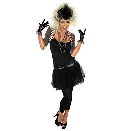 Fun Shack Schwarzes 80er- Jahre Popstar Kostüm für Damen - XXXL