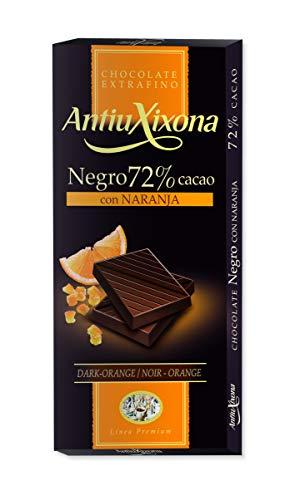 Antiu Xixona Premium - Chocolate Negro 72% Cacao con Naranja, 100 Gramos