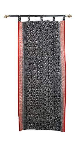 Indio cortinas Georgette tela ventana, puerta, cortina de DRAPE negro Panel de color precio por
