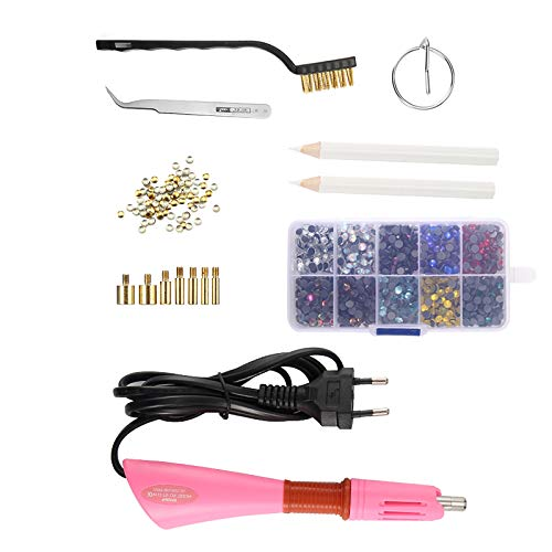 A0ZBZ Kit aplicador de diamantes de imitación Hotfix, herramienta de aplicación de hotfix, varita, juego caliente con puntas de 7 tamaños para cristales, gemas, diamantes de imitación