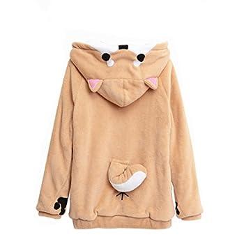 CORIRESHA Cute Coral Velvet Long Sleeve Shiba Inu Dog Home Wear Clothes Hoodie Sweatshirt with 3D Dog Ear and Dog Tail,White,Medium