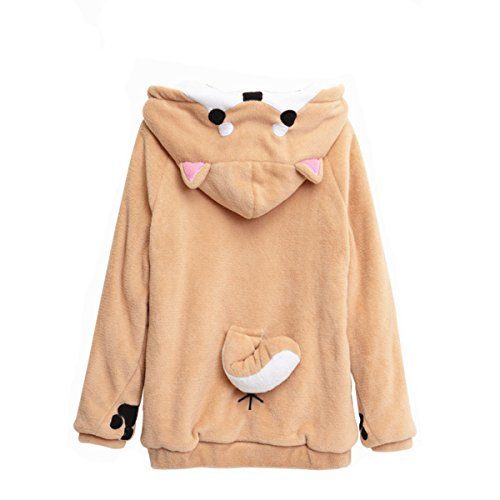 CORIRESHA Cute Coral Celvet Long Sleeve Shiba Inu Dog Home Wear Clothes Hoodie Sweatshirt with 3D Dog Ear and Dog Tail White