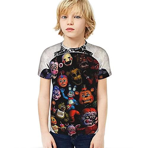 Sanyio Five Nights at Freddy'S Camisetas Niños FNAF 3D Impreso Cuello Redondo Camisetas de Manga Corta Camisetas Divertidas Frescas Tops para niños Adultos