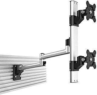 Cotytech Dual VESA Mount for Slatwall Stacked w/Quick Release Dual Arm