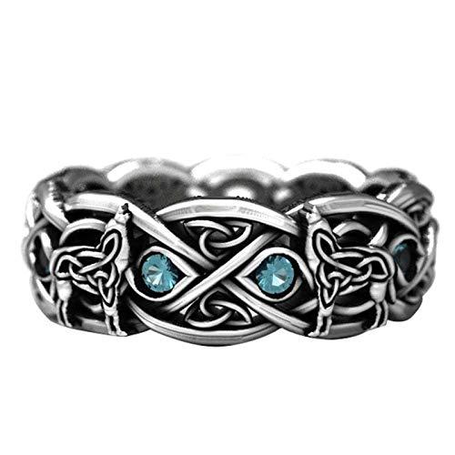 Anillos de nudillo, anillos de dedo, vintage para hombres, mujeres, chapado en plata, topacio sintético, incrustaciones de lobo, regalo de joyería de fiesta, color plateado y negro US 8