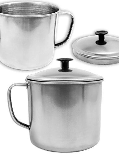 Outdoor Saxx® - Rustieke outdoor beker mok Pott pot met deksel, voor het koken van gerechten op stove, grill, kampvuur, koker, 550 ml