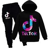 TIK tok Enfants Loisirs Sport Costume Printemps Garçons Filles Coton Pantalon 2 Pcs/Ensembles Bébé Survêtement Décontracté Enfants Vêtements 10 12 Ans (Black,9-10 Ans)