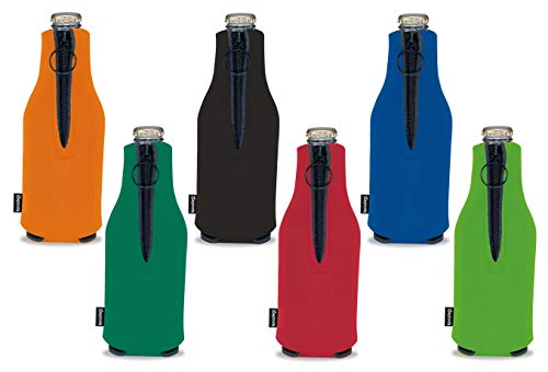 Koozie Beer Bottle Cooler with Zipper 6 Pack Insulated Zip Up Jacket for 12 oz Bottles | Collapsible Blank Bulk Sleeves | Customize for Events, Weddings, Parties | Assorted Colors