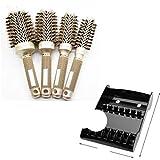 Venta caliente 4 juegos de tubo de aluminio de hierro de cerámica duradero diferente, peine redondo dorado, cepillo para peinar el cabello, barril de estilismo de salón
