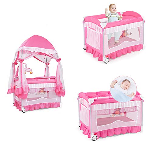 HONEY JOY Baby Playard, 3-in-1 Convertible Baby Playpen, Infants Bedside Bassinet Napper & Changer, Music, Whirling Toys, Lockable Wheels, Carry Bag, Safety Pop Up Tent for Toddler Girl, Pink