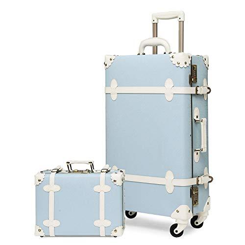 urecity Damen Luxus Vintage Kofferset 2-teilig niedlich Retro Pink Hardside Koffer