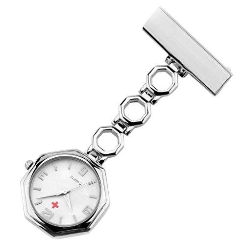 Hellery Lindo Colgante Geométrico Octágono Enfermera Broche con Clip Reloj De Bolsillo Colgante De Cuarzo - Plata