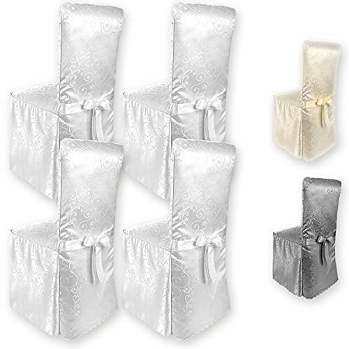 Gräfenstayn® 4er-Set Stuhlhusse Sofia mit Schleife, im Jacquard Muster runde und eckige Stuhllehnen Universal-Passform (Weiß)