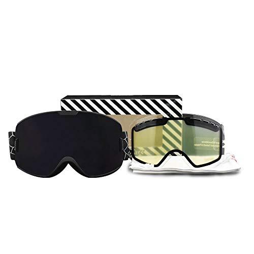 Skibrille für Herren und Damen, doppelschichtig, beschlagfrei, UV400-Schutz, Skibrille, Snowboardbrille, Schwarz und Schwarz