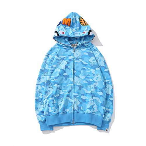GEOOG Unisex Bape Ape Hai Camo Hoodie Mode Casual Teenage Erwachsenen Hip Hop Sweater Full Zipper Jacke,Blau,XL