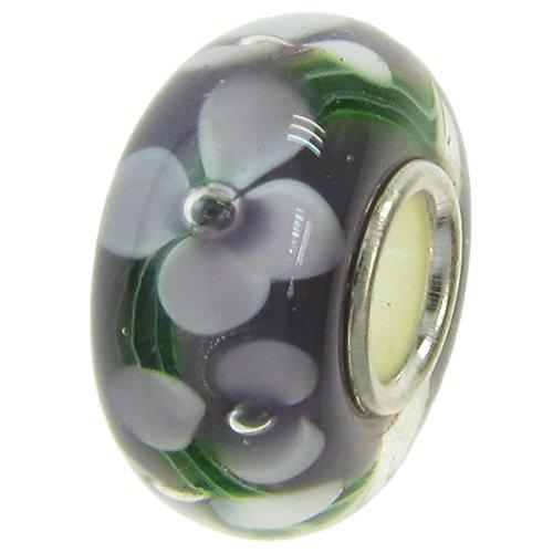 Abalorio redondo de plata de ley 925 con diseño de flor de...