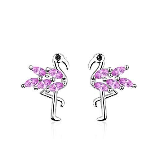 Kiccoum - Pendientes creativos con forma de flamenco, circonita, colgante de gota de oreja, color rosa
