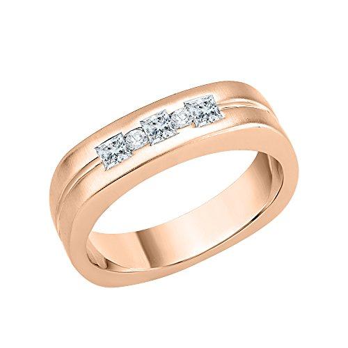 KATARINA Anillo de hombre de diamantes de talla princesa y redonda en oro de 14 k (1/3 quilates, J-K, SI2-I1)