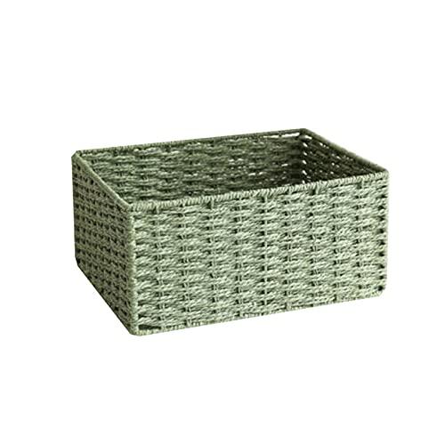 Hanpiyigzwl Cajas Almacenaje, Cestas de artículos para el hogar para organizar, almacenar Cajas de contenedores (Cuerda de Papel), Color: Beige, Azul, marrón, Verde, Rojo, 1pcs