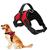 rcruning-eu regolabile cani animali pet rope cane dog harness,pettorina per cani traspirante confortevole durevole imbracatura per la corsa, passeggiate, jogging-red-m