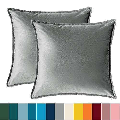 Bedsure Kissenhülle 40x40 grau Doppelpack, Kissenbezug 40 x 40 cm aus samt Mikrofaser, dekorative Kissenbezüge 2er Set weich und atmungsaktiv