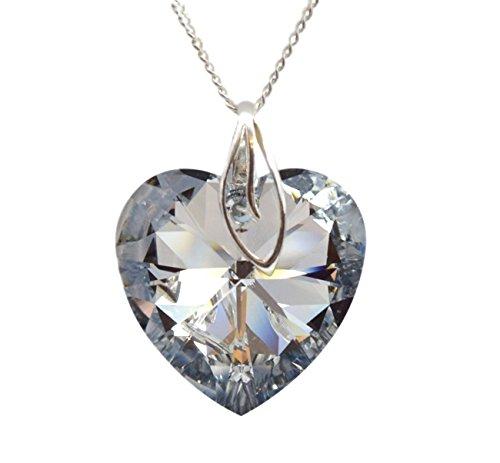 Grote * Hart** 28 mm * CAL* met zilveren ketting van 925 zilver met originele Swarovski® Elements hanger, halsketting met sieradenetui, ideaal als geschenk voor vrouw of vriendin