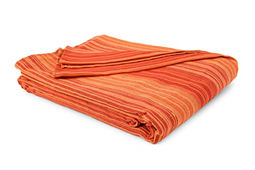 HomeLife Colcha individual primaveral de verano a rayas finas [180 x 260] Made in Italy | Colcha para cama individual de algodón jacquard a rayas | Sábana bajera ajustable ligera | 1P naranja