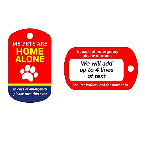 Big Jerk Custom Products Ltd. My Pet's are Home Alone Keychain, Wallet Card and Self Laminating Pouch, Customize with 4 Lines of Text on The Back
