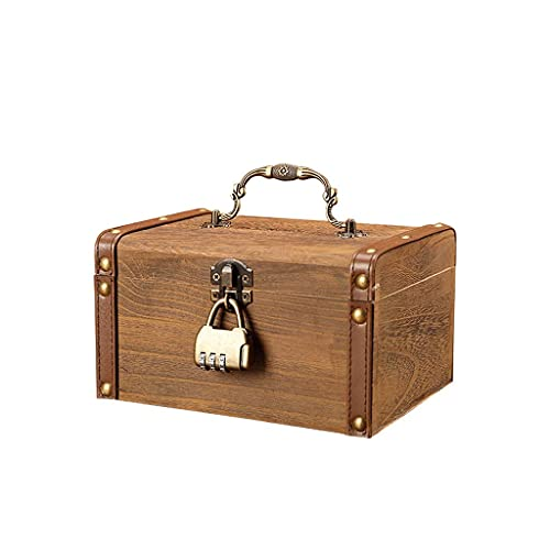 XHAEJ Digital Piggy Bank Counter, Sparschwein mit Schloss Massivholz Schatztruhe Geld Box Kinder Geld Banken Kreative Große Passwort Box Münze Einsparung Topf Container Geld Banken Sparschweiner