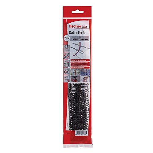 Fischer 533857 Kabelbinder KableFix R schwarz, 20 Stück