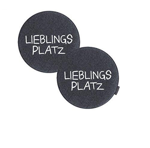 2er Set Stuhlkissen Lieblingsplatz Avaro von Magma - ca. 35 cm rund - in Verschiedene Farben - Filzimitat - waschbar, Farbe:Magma_anthrazit_007