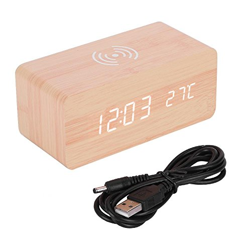 Plyisty Reloj Despertador Digital, con Carga inalámbrica Qi, Reloj de Mesa Digital...